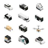 Iconos isométricos de los vehículos autónomos ilustración del vector