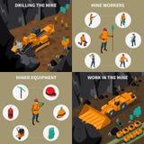 Iconos isométricos de People 2x2 del minero fijados ilustración del vector