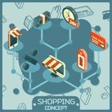 Iconos isométricos del concepto del color de las compras ilustración del vector
