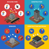 Iconos isométricos del concepto de la construcción fijados Foto de archivo libre de regalías