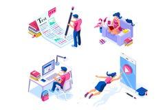 Iconos isométricos del conocimiento de la preparación para la página web libre illustration
