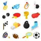 Iconos isométricos del deporte Imagenes de archivo
