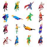 Iconos isométricos del super héroe fijados stock de ilustración