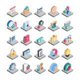 Iconos isométricos del vector de las finanzas Fotografía de archivo libre de regalías