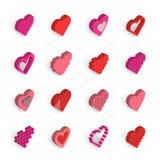 Iconos isométricos del vector de los corazones fijados Imagen de archivo