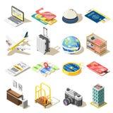 Iconos isométricos del viaje libre illustration