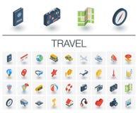 Iconos isométricos del viaje y del turismo vector 3d stock de ilustración