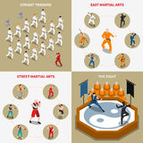 Iconos isométricos 2x2 de la gente de los artes marciales fijados Foto de archivo