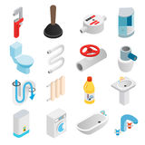 Iconos isométricos 3d de la ingeniería sanitaria Foto de archivo libre de regalías