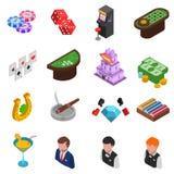 Iconos isométricos del casino fijados Foto de archivo libre de regalías