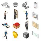 Iconos isométricos del servicio de seguridad en el hogar fijados Fotos de archivo