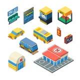 Iconos isométricos del transporte del pasajero Imágenes de archivo libres de regalías