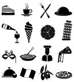 Iconos italianos de las comidas fijados Fotos de archivo libres de regalías