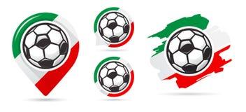 Iconos italianos del vector del fútbol Meta del fútbol Sistema de iconos del fútbol ilustración del vector