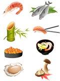Iconos japoneses tradicionales del alimento Foto de archivo