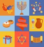 Iconos judíos de Jánuca del día de fiesta fijados