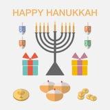 Iconos judíos de Jánuca del día de fiesta fijados Vector stock de ilustración