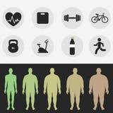 Iconos, la figura de un hombre, deporte, aptitud, dieta Vector Imagen de archivo libre de regalías