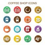 Iconos largos de la sombra de la cafetería Fotografía de archivo