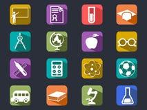 Iconos largos de la sombra de la educación plana Imagenes de archivo