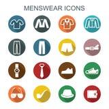 Iconos largos de la sombra de la ropa de caballero Imágenes de archivo libres de regalías