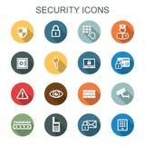 Iconos largos de la sombra de la seguridad Fotografía de archivo libre de regalías