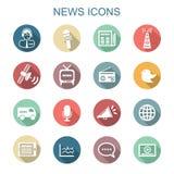 Iconos largos de la sombra de las noticias Foto de archivo libre de regalías