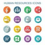 Iconos largos de la sombra de los recursos humanos Fotos de archivo
