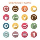 Iconos largos de la sombra del desayuno Fotografía de archivo libre de regalías