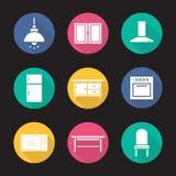 Iconos largos de la sombra del diseño plano interior de la cocina fijados Fotografía de archivo