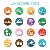 Iconos largos de la sombra del paisaje Foto de archivo libre de regalías