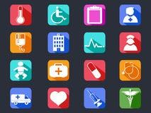 Iconos largos médicos planos de la sombra Imágenes de archivo libres de regalías
