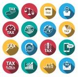Iconos largos planos del impuesto y del dinero de la sombra fijados Vector Ilustración Foto de archivo libre de regalías