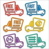 Iconos libres de las furgonetas de entrega fijados Imagen de archivo