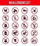 Iconos libres de los productos del alergénico Foto de archivo
