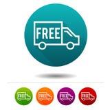 Iconos libres del envío Muestras del envío Símbolo de las compras Botones del web del círculo del vector stock de ilustración