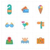 9 iconos libres planos del viaje Imagen de archivo