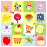 Iconos lindos stock de ilustración