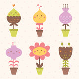 Iconos lindos de la flor fijados Fotografía de archivo libre de regalías