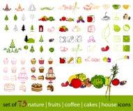 Iconos lindos de la fruta, del vehículo, del café y de la naturaleza Imágenes de archivo libres de regalías