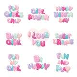Iconos lindos de la inscripción para las muchachas Letras brillantes de la historieta en colores en colores pastel Fotografía de archivo libre de regalías