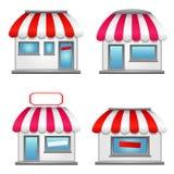 Iconos lindos de la tienda con los toldos rojos Foto de archivo libre de regalías