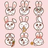 Iconos lindos de los conejos del ejemplo del vector fijados Etiquetas engomadas dulces de los conejos en estilo plano ilustración del vector