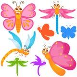 Iconos lindos del vector: Mariposa, libélula Imagen de archivo
