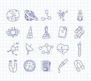 Iconos lindos en ciencia, escuela, tema de la historieta del estudio La f?sica, qu?mica, astronom?a y otras ciencias - vector libre illustration