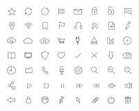 Iconos lineares de Digitaces fijados Fotos de archivo