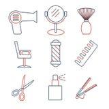 Iconos lineares de la barbería fijados Icono universal del peinado a utilizar en web y UI móvil stock de ilustración