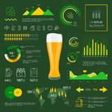 Iconos lineares de la cerveza del infographics del web fijados Fotografía de archivo libre de regalías