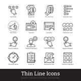 Iconos lineares de la encuesta, de la reacción, del grado y del estudio libre illustration