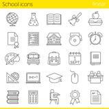 Iconos lineares de la escuela fijados Fotos de archivo libres de regalías